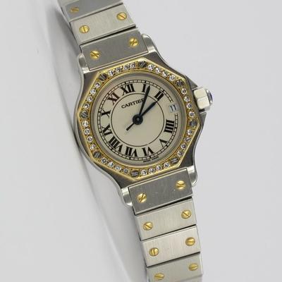 Cartier Santos Octagon Stahl / Gold Diamant-Besatz