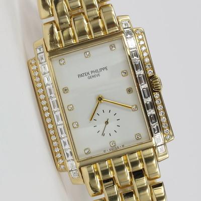 Patek Philippe Gondolo Rectangular 18K Gold Original Diamant-Besatz 5045/1